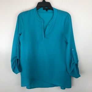 Gibson Erin Cross Front Tunic Teal SP Petite